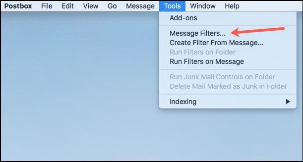 Postbox Filters Menu