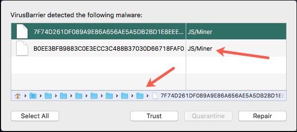VirusBarrier Warning