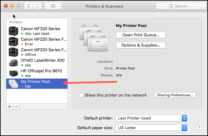 Printer Pool Sidebar