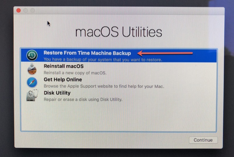 Restore Time Machine