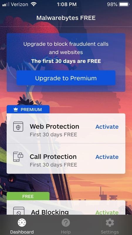 Malwarebytes Activation Screen