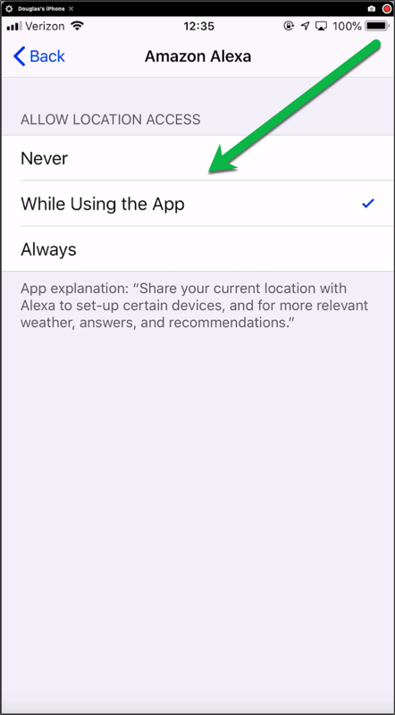 Location Services App Settings