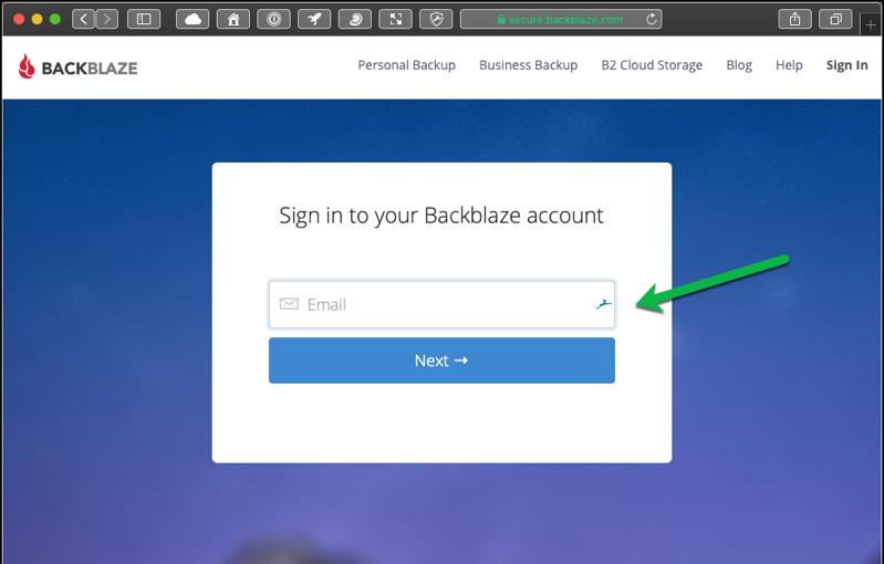 Backblaze email