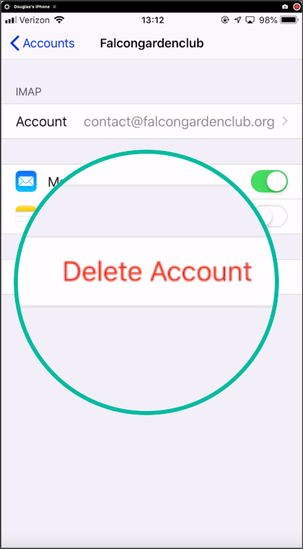 Tap on Delete Account