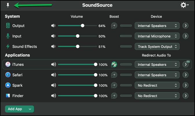 SoundSource Pin