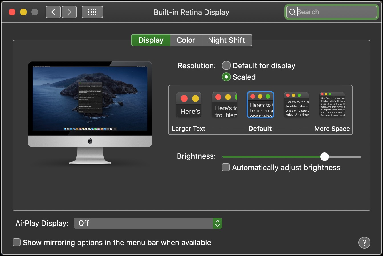 Canned Display Settings