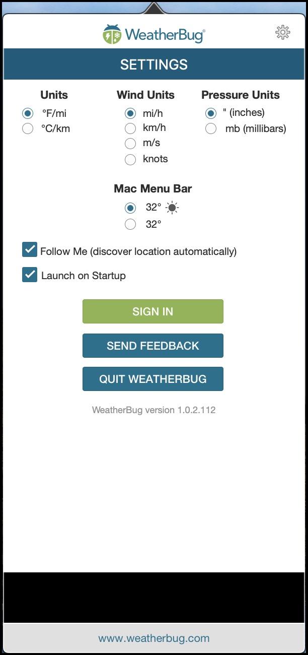 WeatherBug Preferences