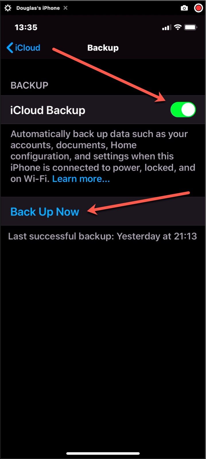 iCloud Backup Activated